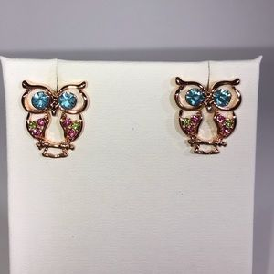 JUST IN Adorable Rose Gold Plated Owl Gem Earrings